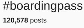 screenshot of #boardingpass on instagram