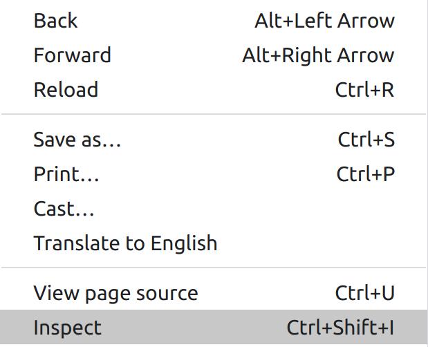 Right click > Inspect-small