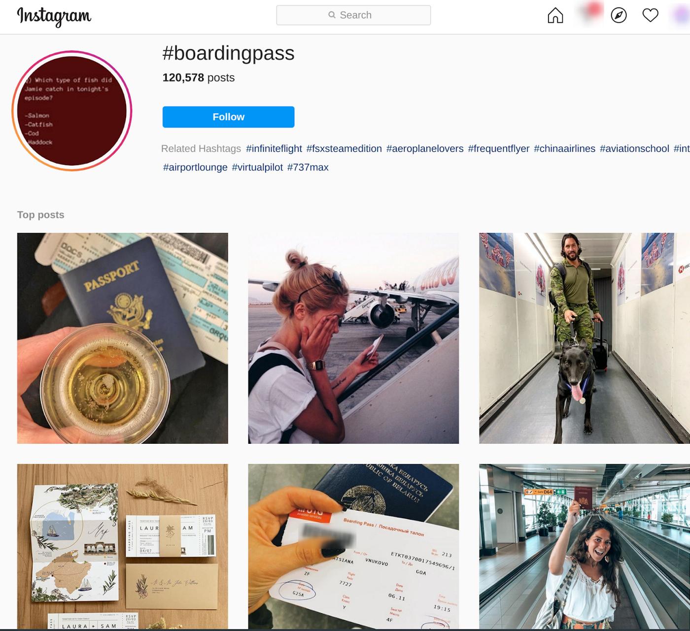 screenshot of #boardingpass on instagram|medium