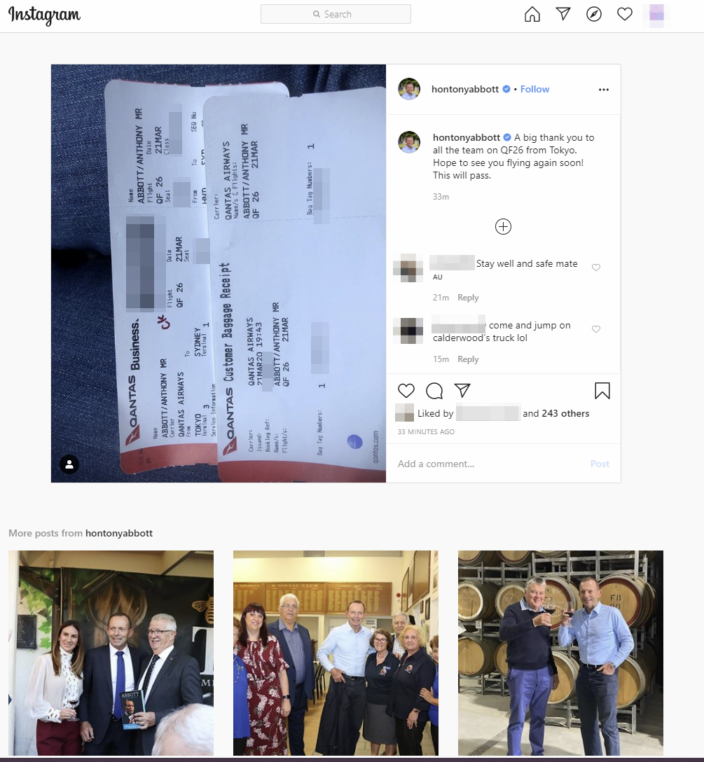 Instagram post showing boarding pass|large